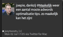 Joey Peter Compliment Maakelijk via Twitter