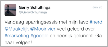 Compliment Gerry Schultinga - Online Marketing Sessie