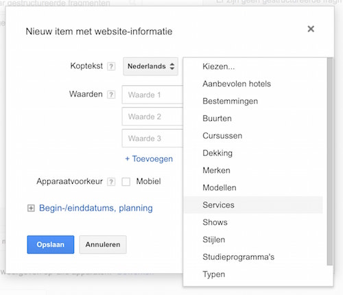 Website informatie extensies in Google Adwords