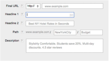 oogle Adwords Expanded Text Ads interface